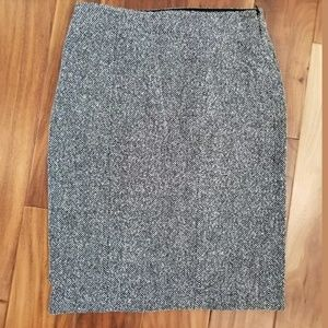 Max Mara tweed wool blend pencil skirt gray black